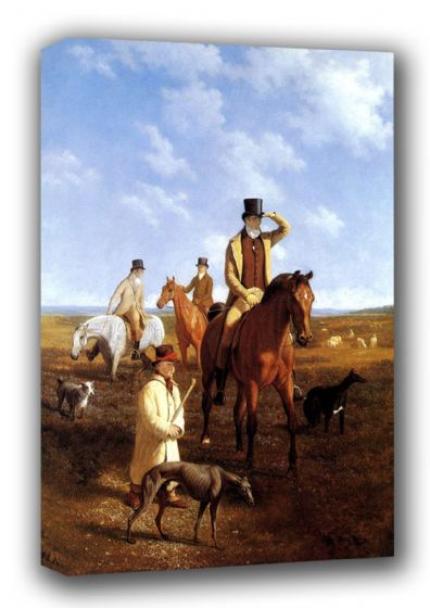 Agasse, Jacques Laurent: Lord Rivers and Friends Coarsing. Fine Art Canvas. Sizes: A3/A2/A1 (00651)